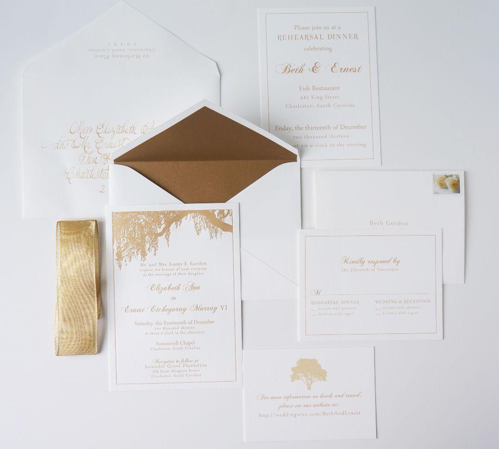 Charleston Invitation with Oak Tree and Gold Dodeline Design ...
