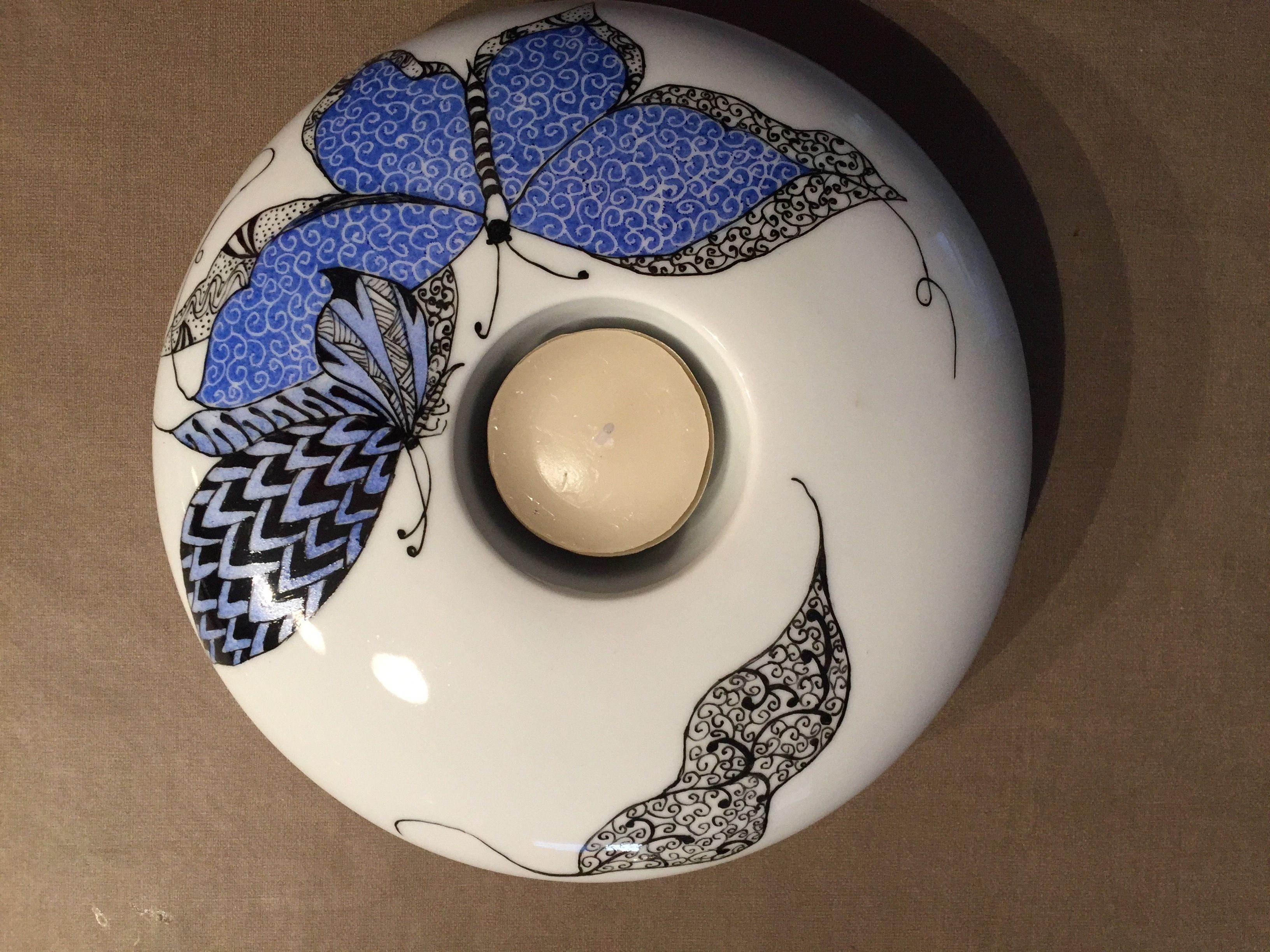 Lin van porcelaines peinture sur porcelaine bougeoirs for Decoration sur porcelaine