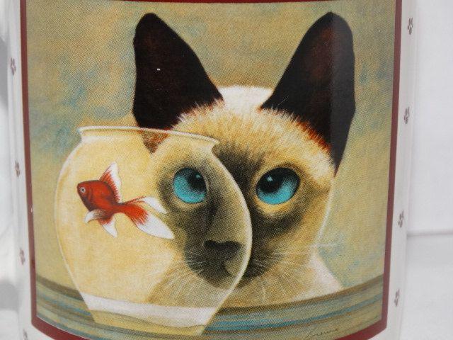 1986 Lowell Herrero Coffee Mug Siamese Cat Gold Fish Bowl Hot