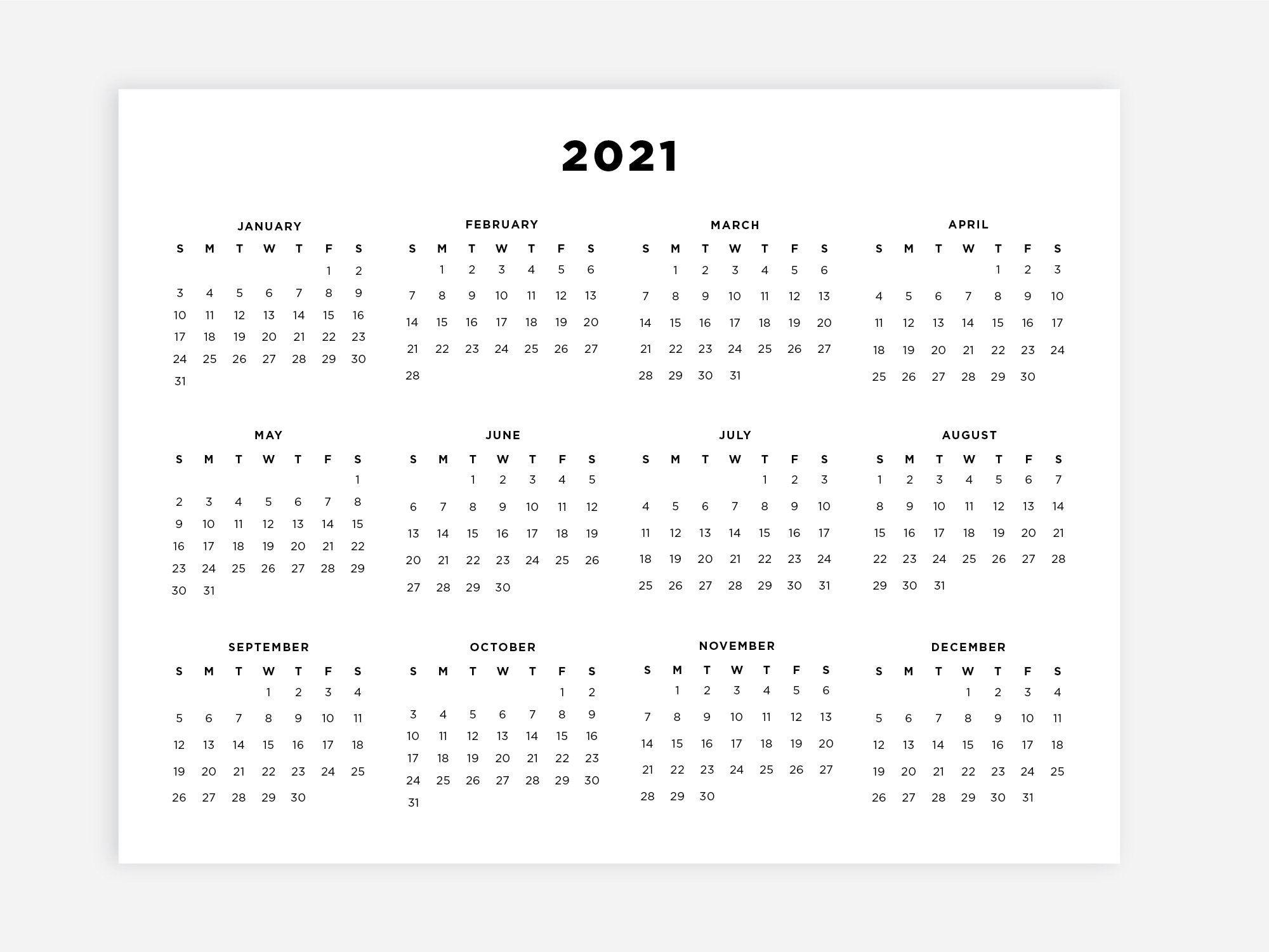 2021 Calendar 2021 Printable Planner Minimalist Calendar ...