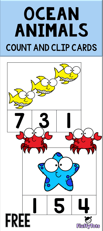 Free Ocean Animals Count And Clip Cards Smiling Wide Eyed Ocean Animals Are Definite Ocean Activities Preschool Ocean Animals Preschool Ocean Theme Preschool [ 1338 x 600 Pixel ]
