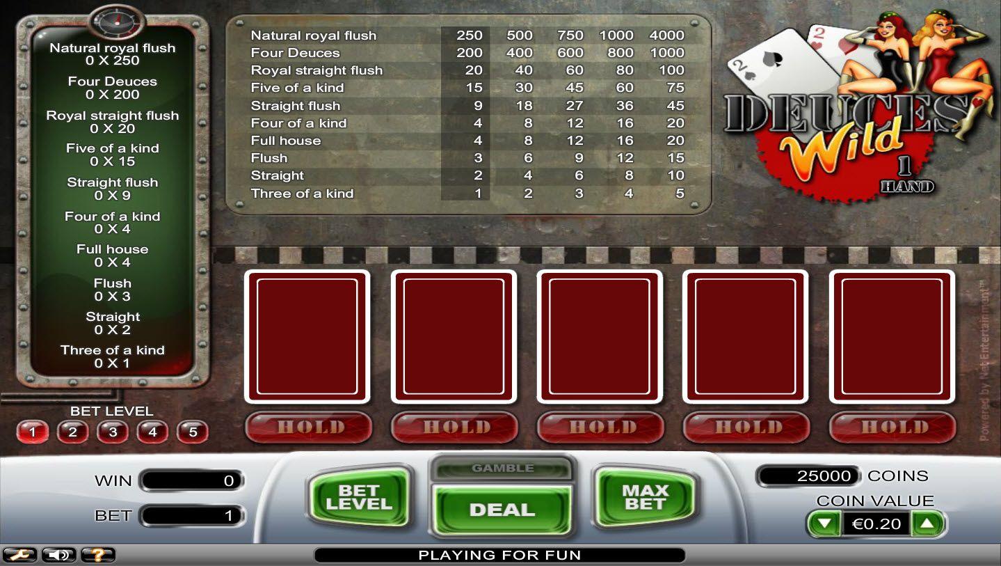 Play Deuces Wild 1 Hand, Video Poker Deuces Wild Betluck