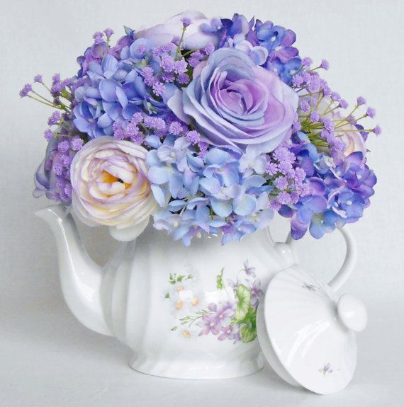 This Listing Is For A Lovely Teapot Silk Flower Arrangement Of Beautiful Artificial Flower Arrangements Hydrangea Flower Arrangements Silk Floral Arrangements