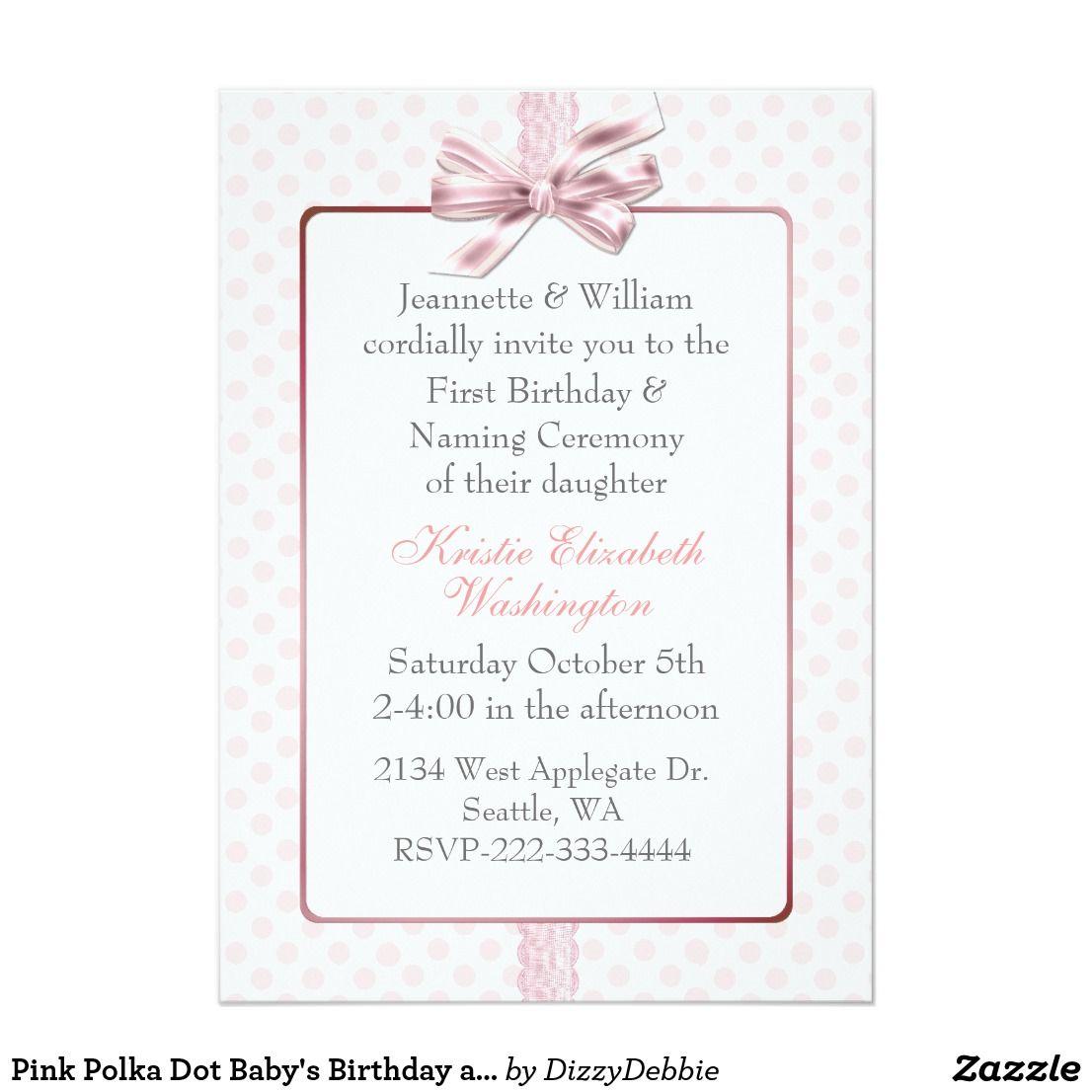 pink polka dot baby's birthday and naming ceremony