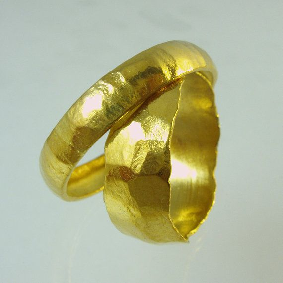 Set of Pure Solid gold wedding bands 24 Karat solid gold ring100