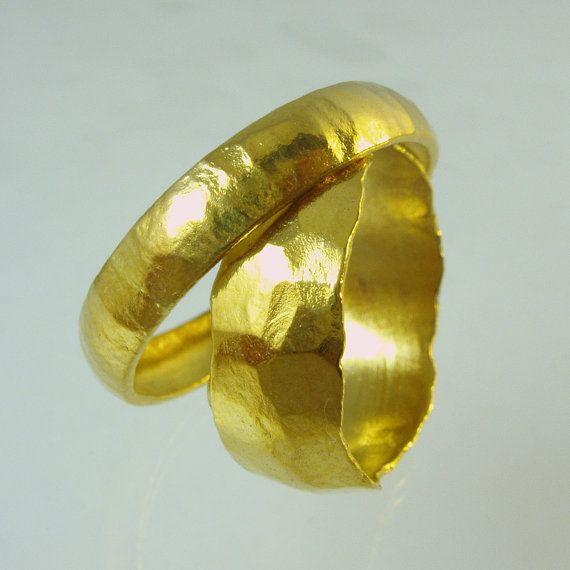 Set Of Pure Solid Gold Wedding Bands 24 Karat Solid Gold Ring 100 Pure Recycled Gold Unisex Ring Recycled Go Gold Wedding Band Unisex Ring Solid Gold Rings