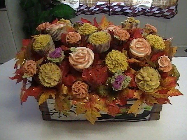 Fall inspired cupcake bouquet bridal shower and wedding