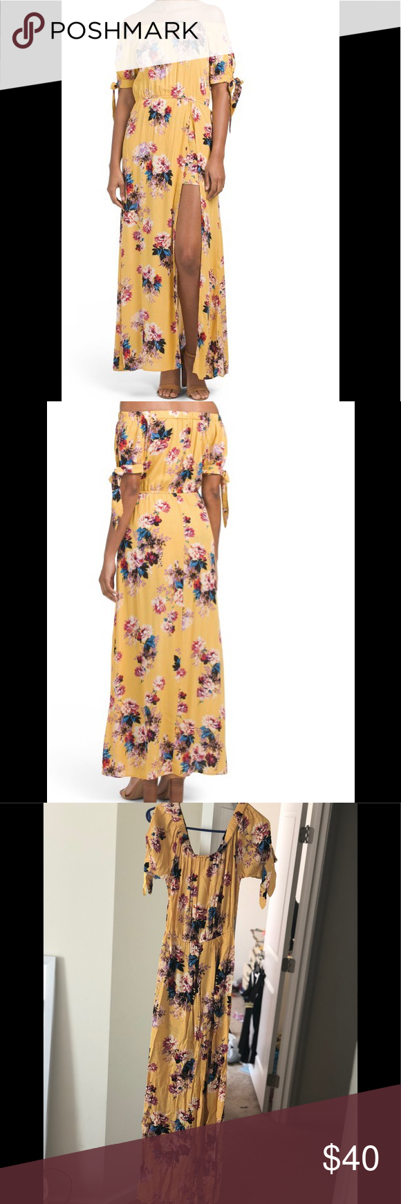 Juniors yellow off the shoulder floral maxiromper nwt in my