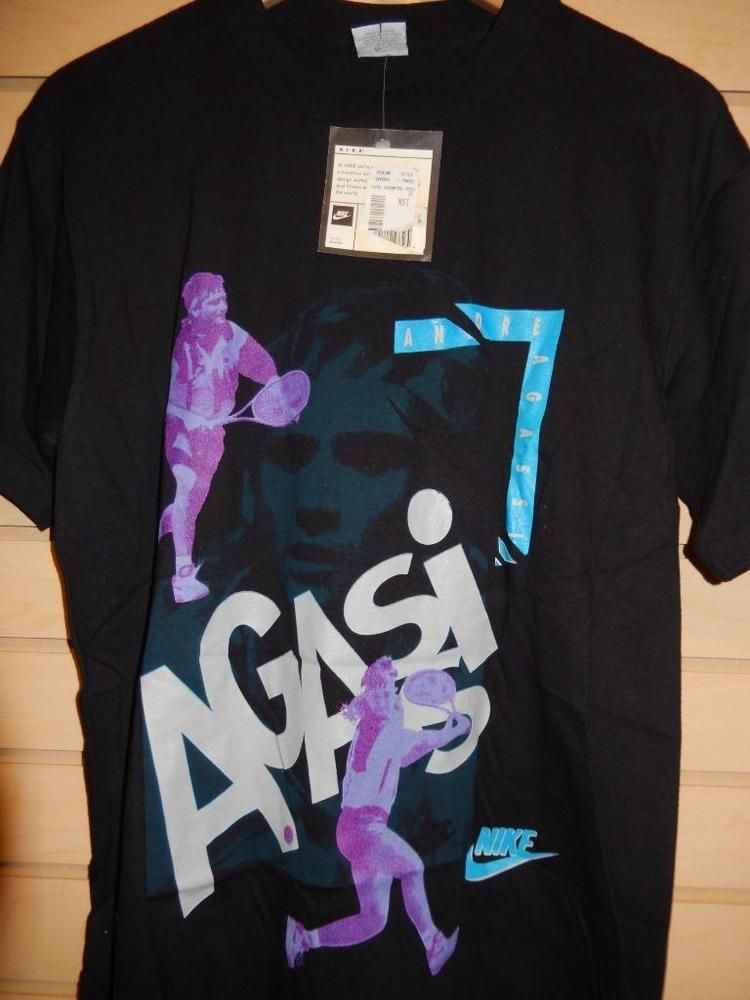 VTG 1991 Nike Andre Agassi T-shirt New with tags! Black Purple Medium USA