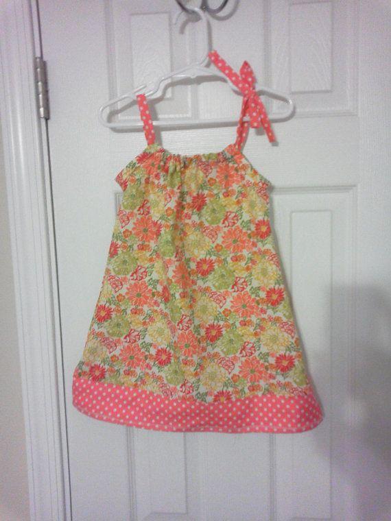 Pastel Floral and Coral Polka Dot Pillowcase Dress