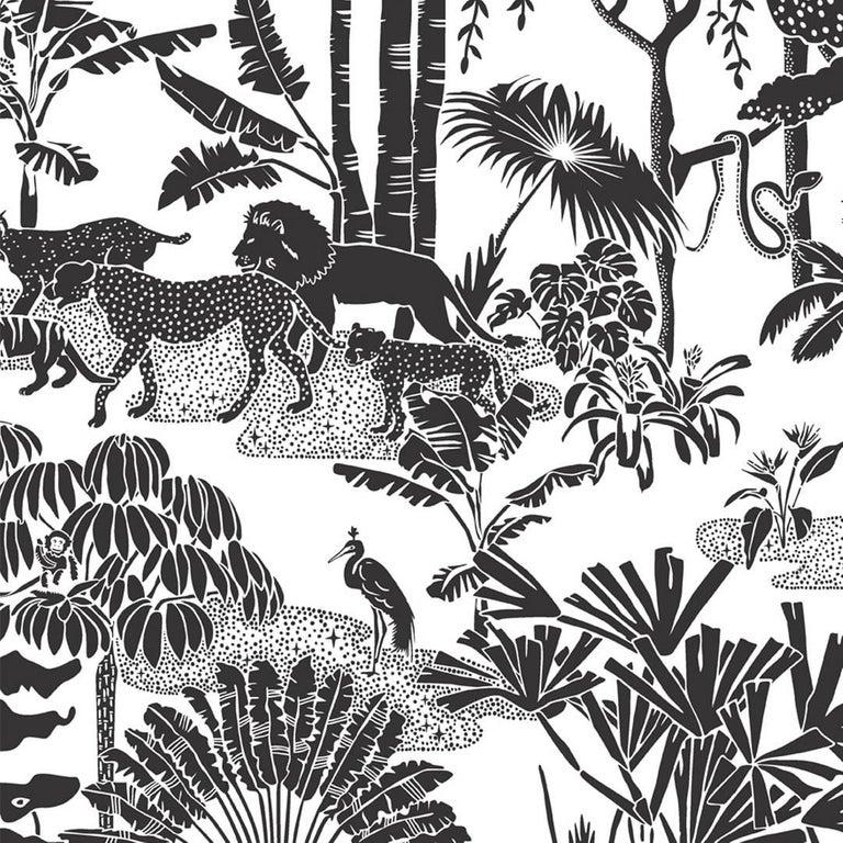 Jungle Dream Designer Wallpaper in Charcoal 'Black and