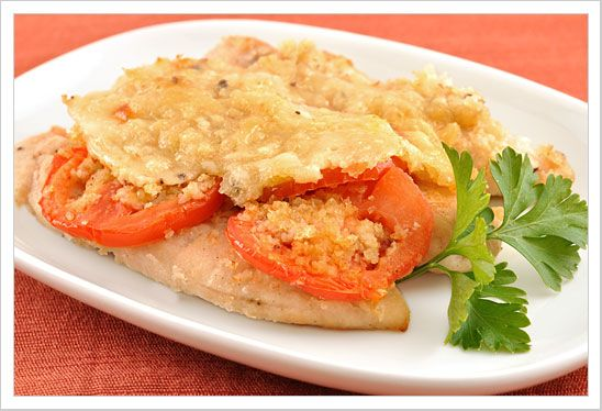 Garlic Crumb Topped Chicken: Chicken tenderloins, topped with garlicky soft breadcrumbs, sliced fresh tomato and provolone cheese make for a fast entree ~ much lighter than a traditional chicken parm.