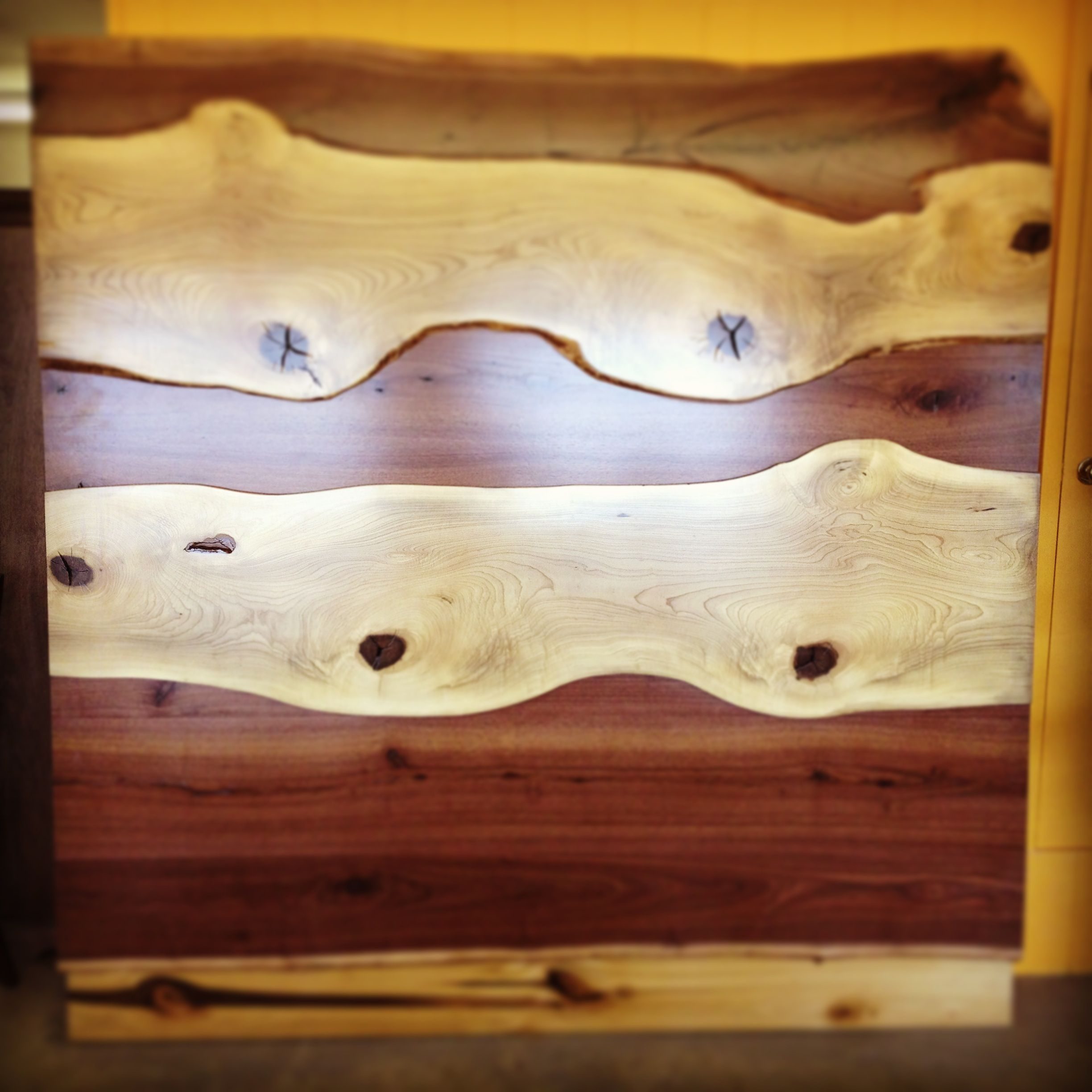 Superior Custom Designed King Headboard Using Black Walnut And Magnolia Wood.