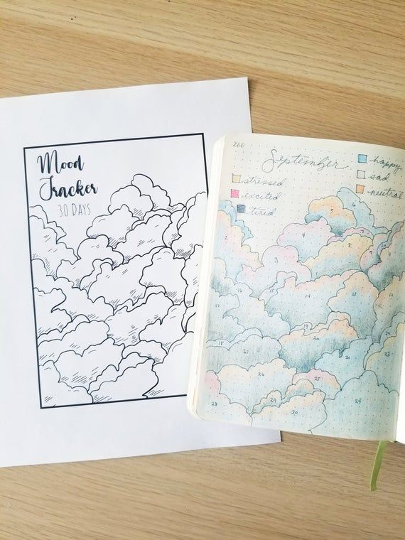 Mood tracker  downloadable  bullet journaling  clouds  A5 | Etsy