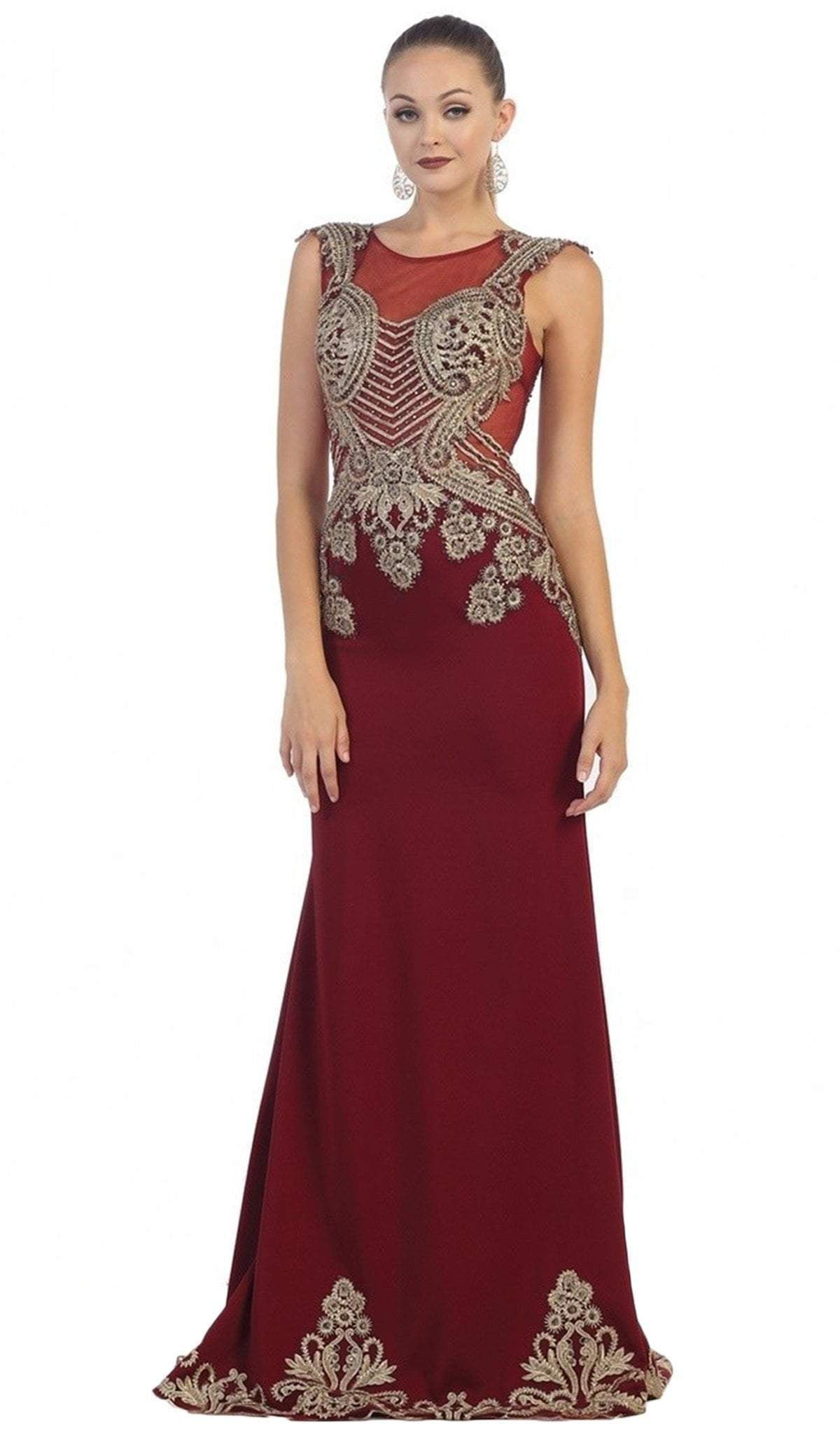 DQ 2078 - High Neck Embroidered Bodice, Key-Hole Closure