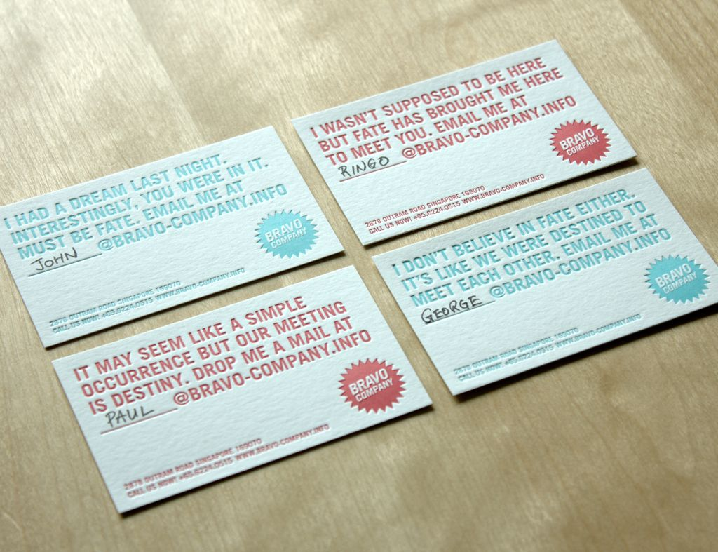 Business cards for the bravo company cheesy pick up lines business cards for the bravo company cheesy pick up lines magicingreecefo Gallery