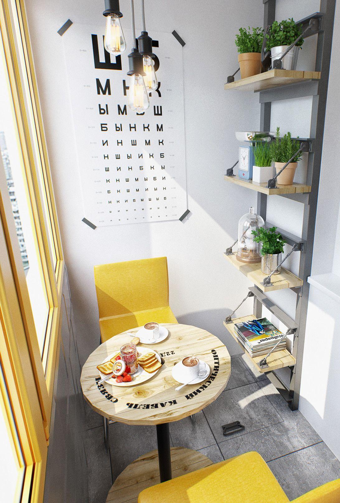 Kleine Wohnung Modern Und Funktionell Einrichten_balkon Gestalten In Gelb,  Weiß Und Grau