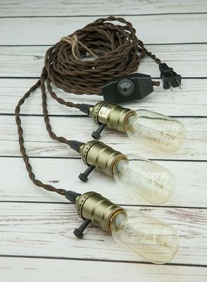 Triple copper socket vintage style pendant light cord w dimmer triple copper socket pendant light lamp cord kit w dimmer 17ft ul listed brown cloth on sale now we offer vintage globe outdoor string lights for aloadofball Image collections