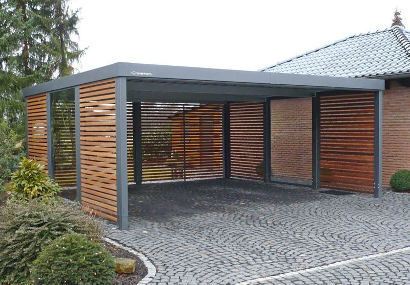 carport aus metall mit flachdach home decor ideas pinterest cochera garaje exterior y. Black Bedroom Furniture Sets. Home Design Ideas