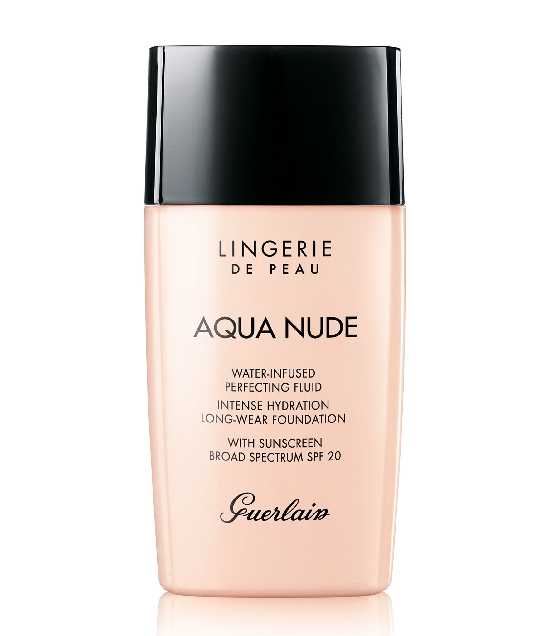 Guerlain has revolutionized second-skin-effect makeup with Lingerie de Peau Aqua Nude, an intensely hydrating, long-lasting and light-textured foundation for a more beautiful complexion.Its incredible weightless film appears to smooth and perfect the skin's texture with a sheer finish.  Infused with skincare water, its formula intensely hydrates the skin for endless comfort and a visibly re-plumped appearance of the skin&#