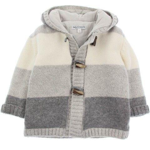 Baby Graziella Boys Grey Wool Stripe Duffle Cardigan [] # # #Baby #Knitting, # #Baby #Knits, # #Cardigans, # #Layette, # #Bulletproof #Vest, # #Jacket, # #Tissue, # #Knitting