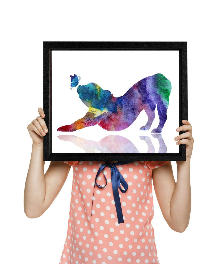 French bulldog in Yoga pose, Dog print, Dog playing with a