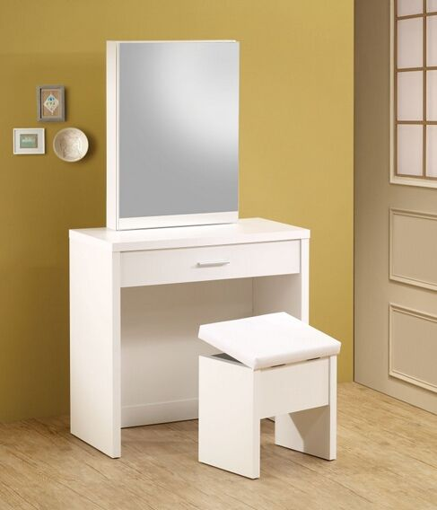 300290 Latitude Run Nydia 3 Piece Glossy White Finish Wood Make Up Vanity Set With Storage Mirror And Storage Stool Furniture Vanity White Vanity Desk White Vanity Table