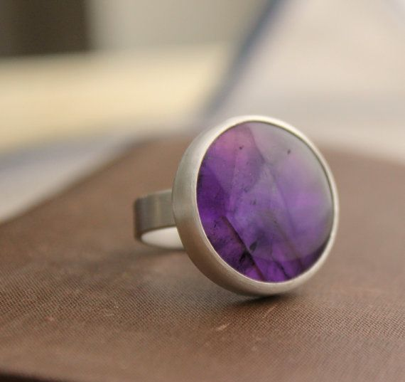 AMETHYST coctail, sterling silver ring.