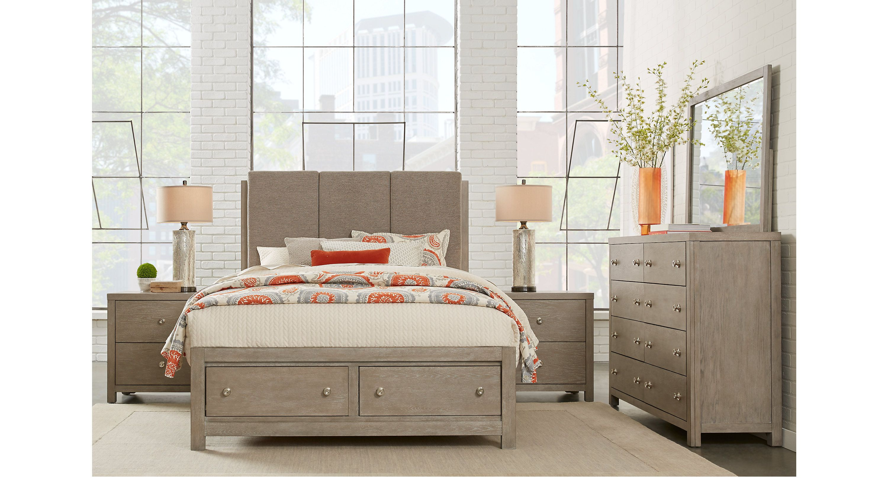 Barringer Place Gray 8 Pc King Upholstered Bedroom with
