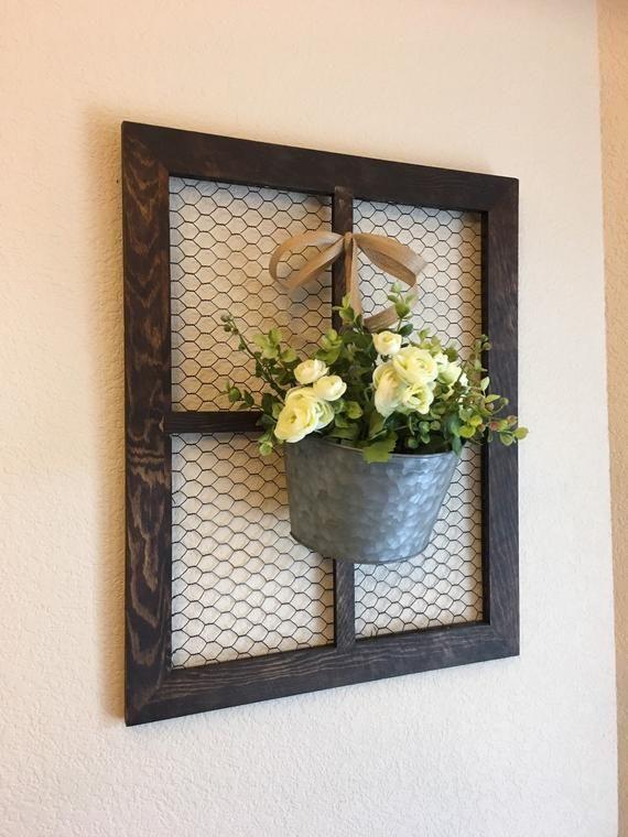 Photo of Window Frame, Chicken Wire Decor, Farmhouse Wall Decor, Chicken Wire Wall Decor, Country Wall Decor, Rustic Wall Decor, Gallery Wall Decor