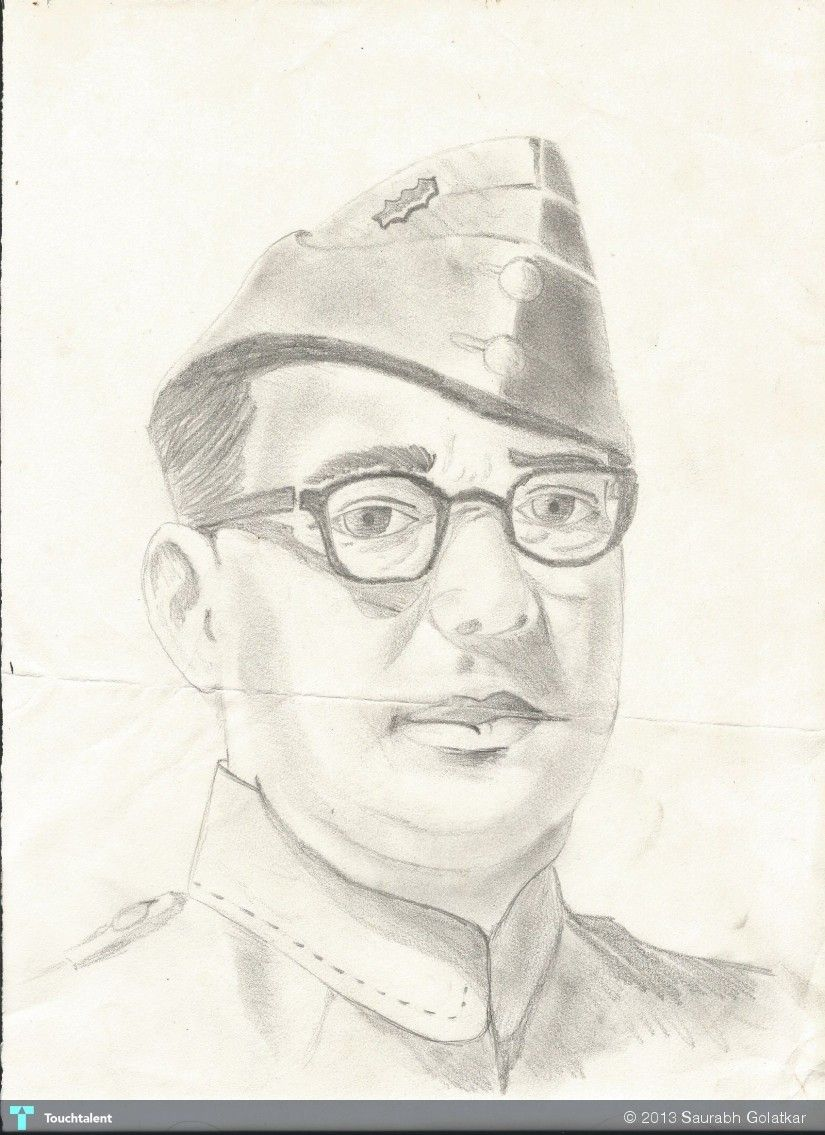 Netaji subhash chandra bose creative art in sketching by saurabh