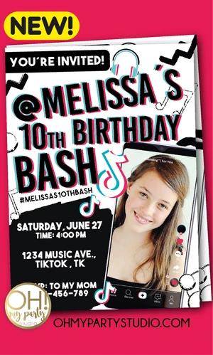 Tiktok Birthday Party Invitation In 2020 Party Invitations Invitations Birthday Party Invitations