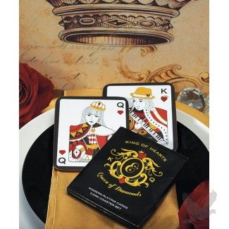 King of Hearts Queen of Diamonds Cork Back Coaster in Gift Packaging