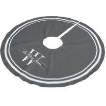 Dark Gray Border Monogram Brushed Polyester Tree Skirt
