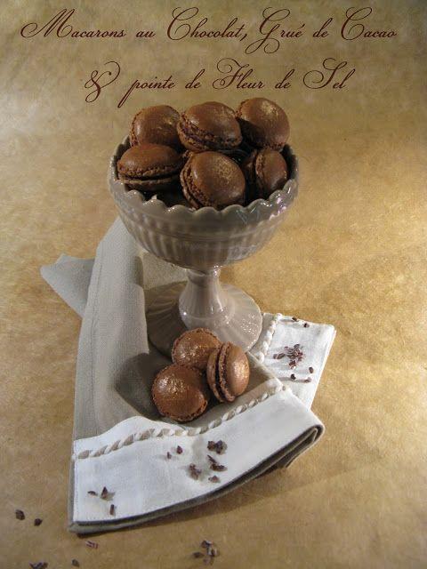 J'en reprendrai bien un bout...: Macarons au Chocolat, Grué de Cacao & pointe de Fleur de Sel