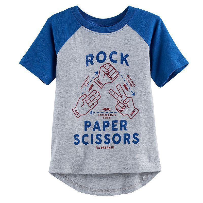 Toddler Boy Jumping Beans® Slubbed Raglan Hi Low Graphic Tee, Size: 4T, Light Grey