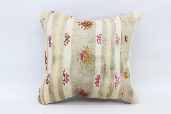 Turkish Kilim Pillow, 16x16 Tribal Pillow, Pillow Covers, Purple Pillow, Traditional Pillow, Pattern