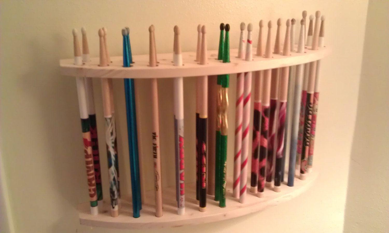 Drum Stick Display Drumstick holder Solid Natural Cedar Wood Holds 13 drum sticks great for drummer / collector