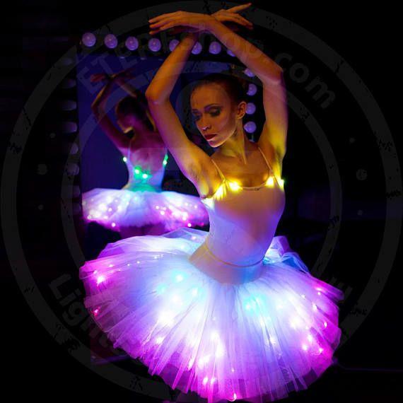 Led Light Up Rainbow Ballet Tutu Dress Costume Professional