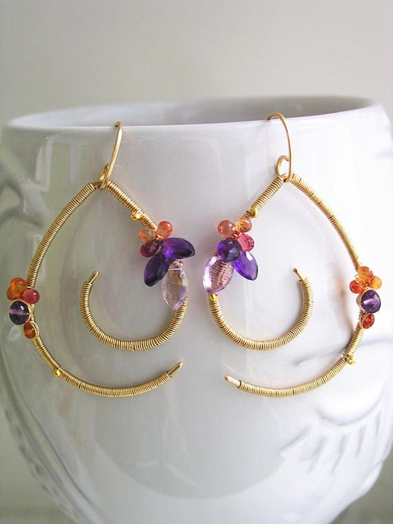 Sculptural Gemstone Earrings, Amethyst and Sapphire, 14k Gold Filled Curled Dangles, Wire Wrapped, Lightweight, Artisan Made, Modern Design