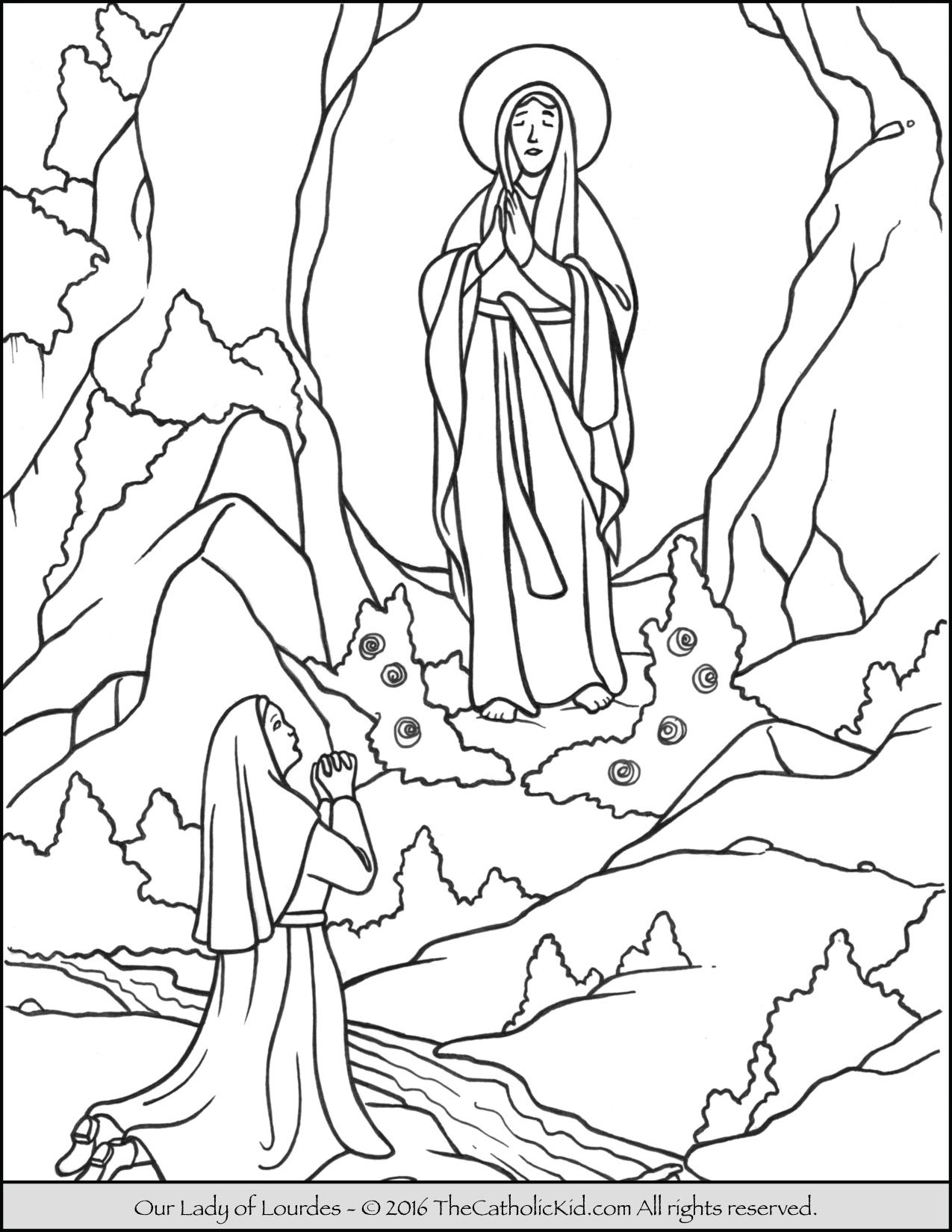 Our Lady of Lourdes Coloring Page Catholic coloring, Our