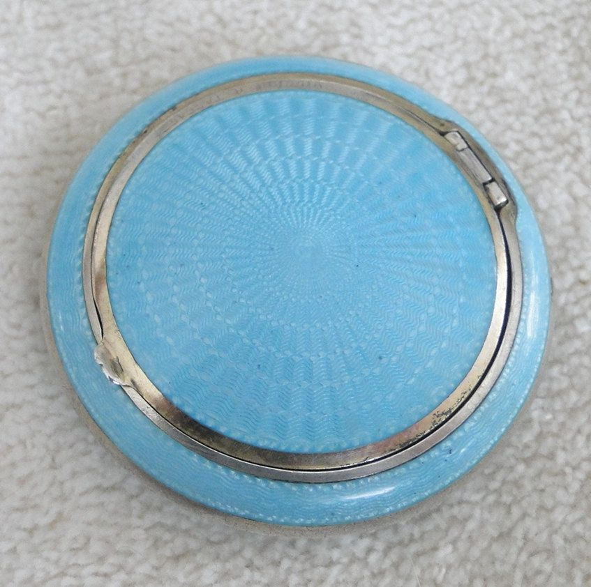 Small Art Deco Sterling and Guilloche Enameled Compact -Vintage 1920s-30s - Aqua Blue by TheCalamityHouse on Etsy