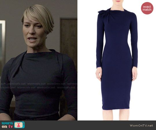 Claire S Navy Pleated Neck Dress On House Of Cards Lovely