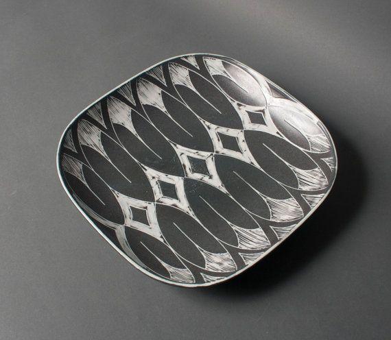 plat Vintage eva johannes poterie de studio pour le grès à collectionner danois andersen scandinave