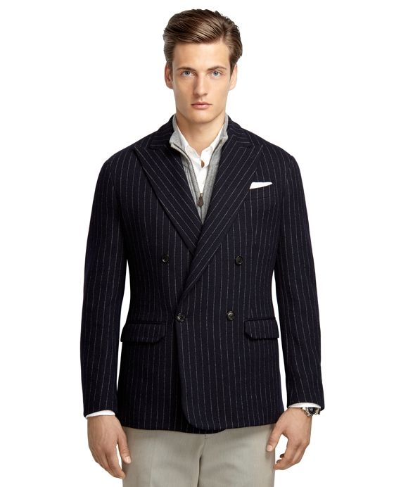 Navy knit blazer double breasted