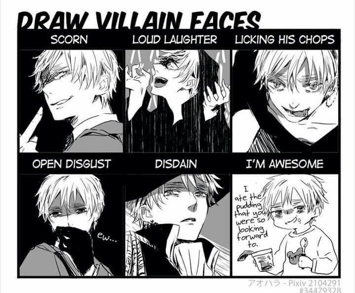 Arthur Kirkland and his many villainous faces.
