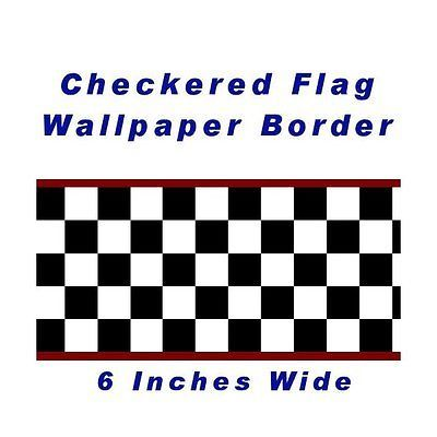 2013 Checkered Flag Cars Nascar Wallpaper Border-6 Inch (Red Edge)