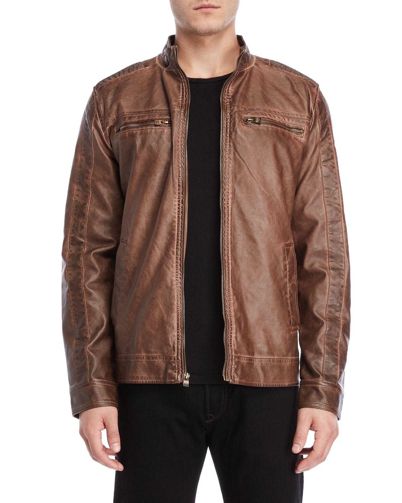 Brown Faux Leather Moto Jacket Jackets, Moto jacket