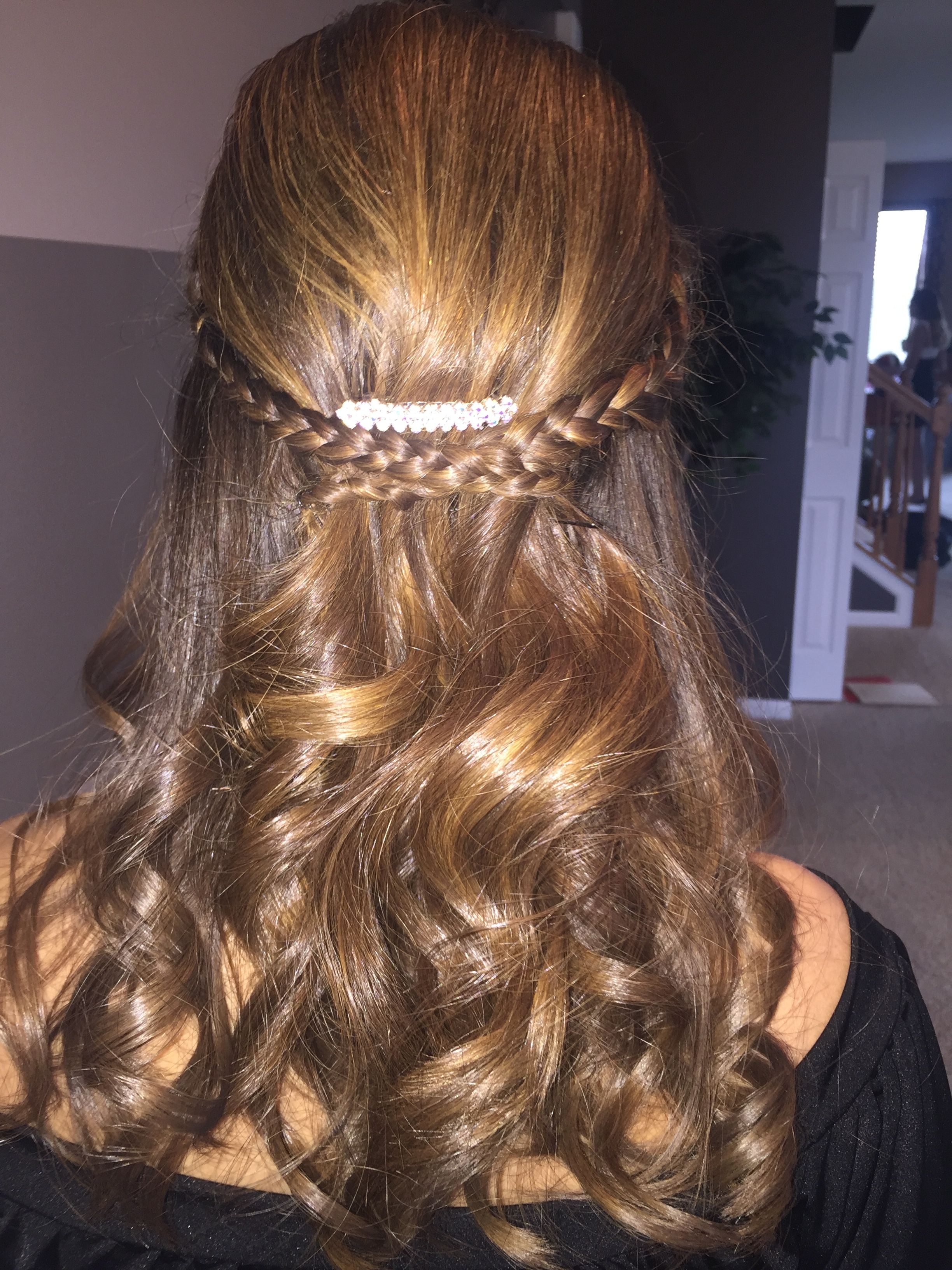 Home ing prom wedding hair Two small braids on the side of the
