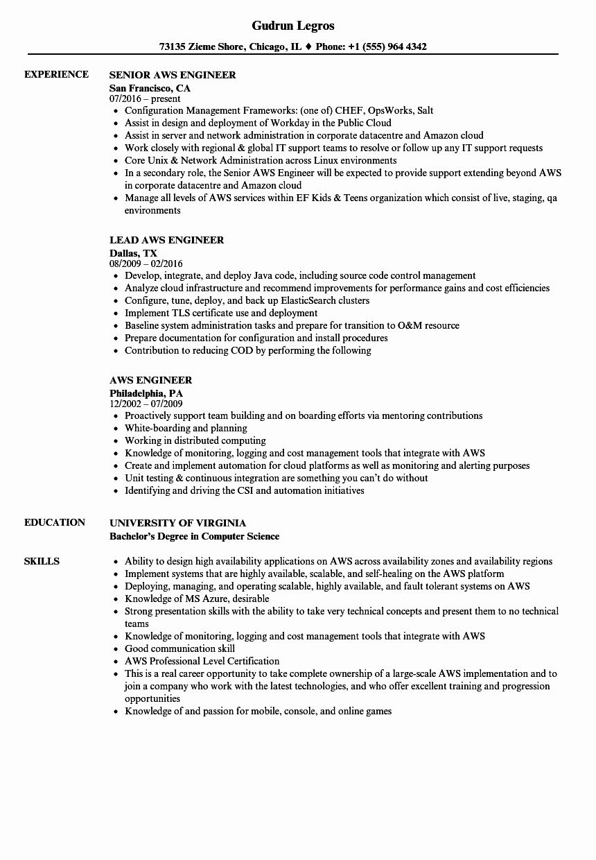 Java With Aws Resume Lovely Aws Engineer Resume Samples Basic Resume Architect Resume Job Resume Samples